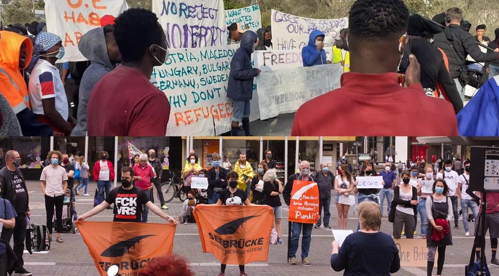 Demos in Moria (oben) und Stuttgart (unten) für Menschenrechte und die Evakuierung der Flüchtlingslager